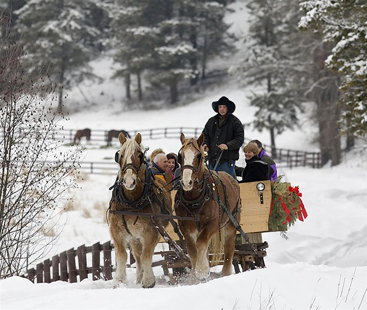 winter sleigh ride on a ranch